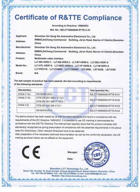 China Shenzhen Xinsongxia Automobile Electron Co.,Ltd Certificações
